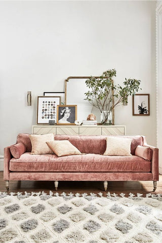 soft pink velvet couch with plants and frames in a white living room