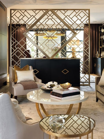 glam living space with brass details