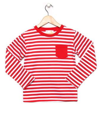 Red and White Striped Long Sleeve Top