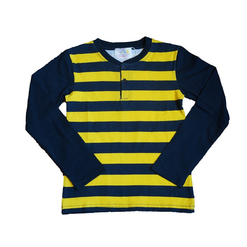 Yellow and Blue Striped Boys Long Sleeve Top