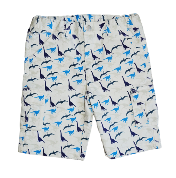 Blue and Grey Dinosaur Print Boys Cargo Shorts