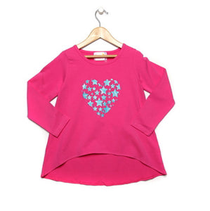 Girls Pink & Aqua Blue Glitter Top