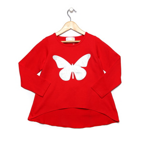 Glitter Butterfly Girls Red Top