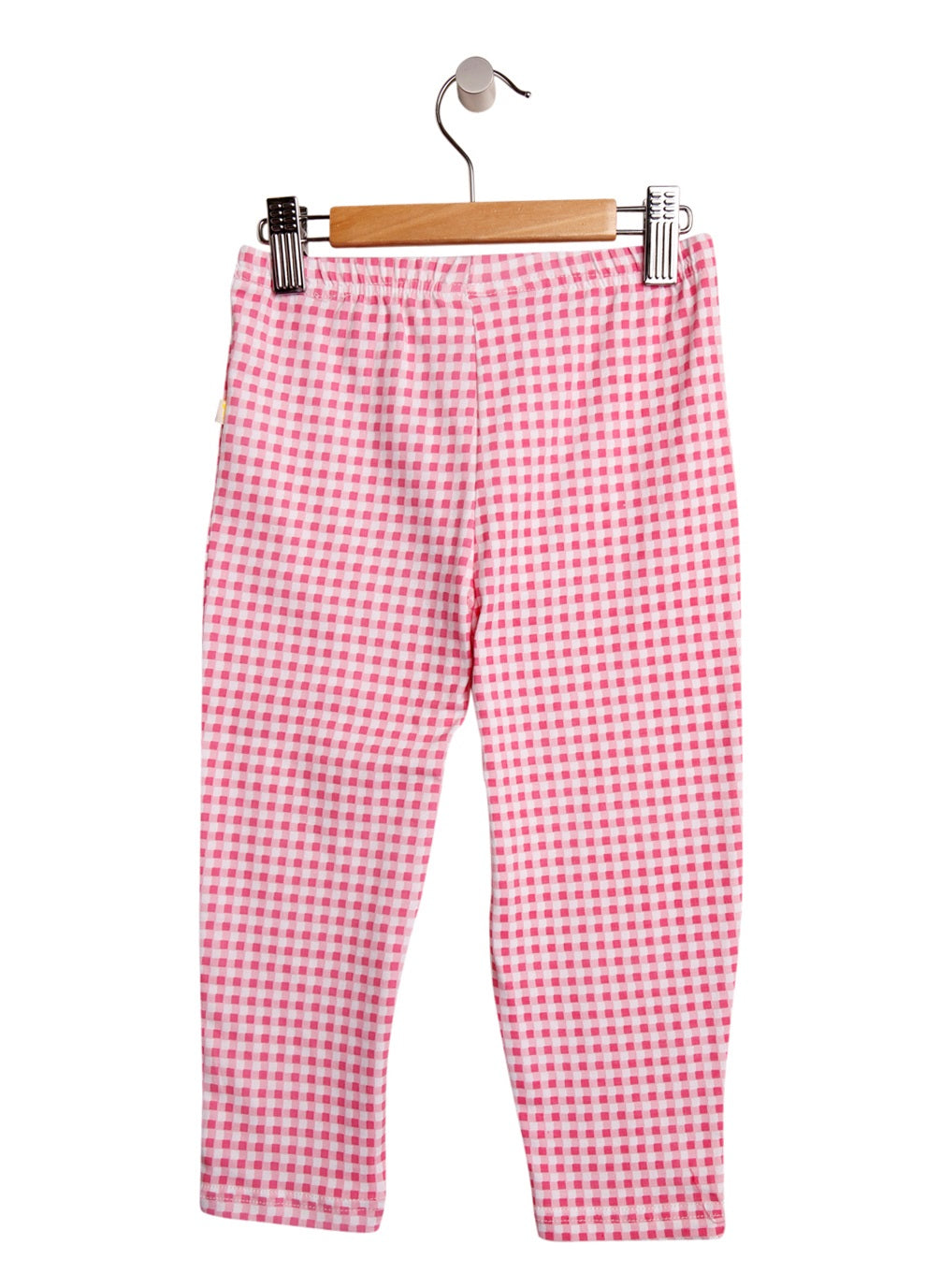 3/4 Length Gingham Girls Pink Leggings