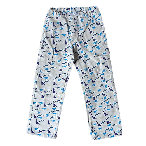 Dinosaur Print Cargo Pants 100% Cotton Canvas Hard Wearing Kids Cargo Pants