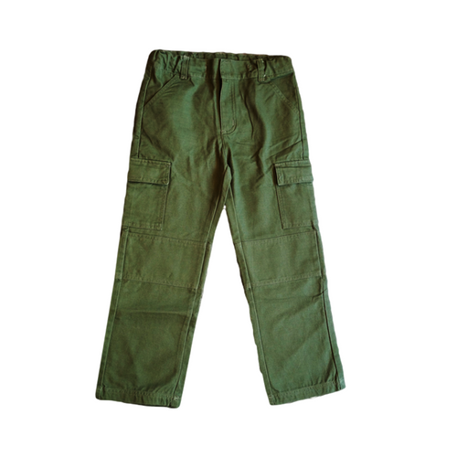 Boys Green Cargo Pants 100% Cotton Canvas Hard Wearing Boys Cargo Pants