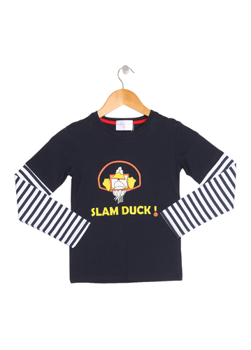 Blue 'Slam Duck' Striped Long Sleeve Boys Top