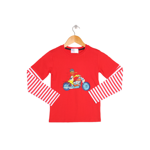 Red and White 'Duck on Bike' Striped Long Sleeve Boys Top