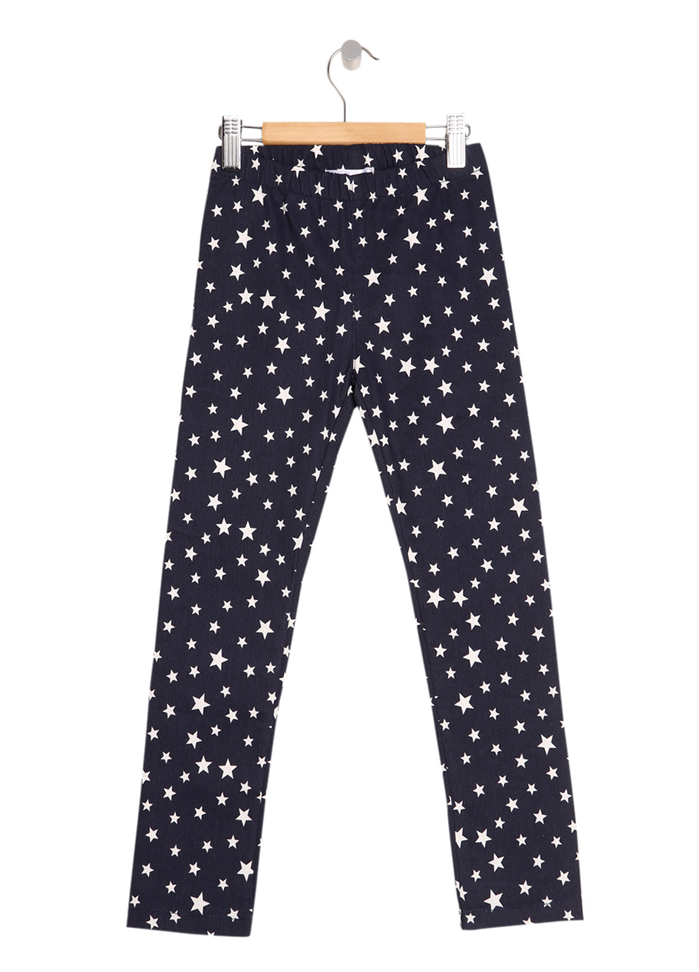 Girls Blue & White Star Print Denim Jeggings