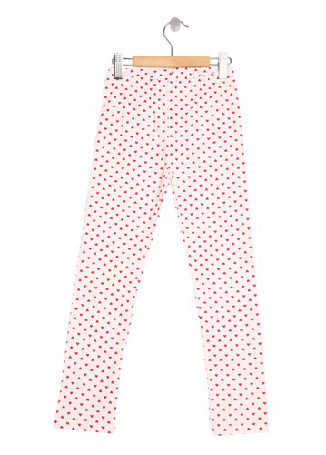 Girls Pink Heart Print Denim Jeggings