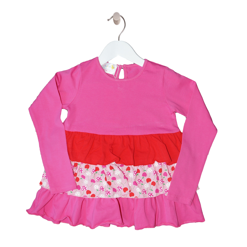 Ruffle Layered Girls Pink Long Sleeve Top