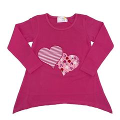 Pink Long Sleeve Top with Appliqued Heart