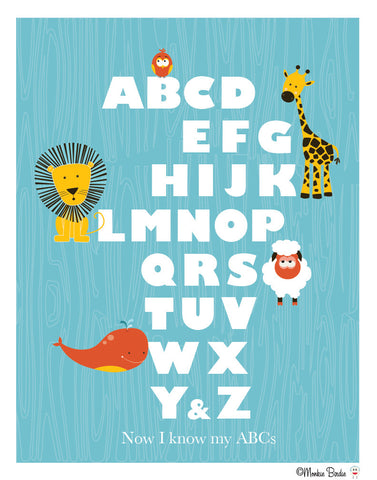 Animal Alphabet Blue Nursery Art Print