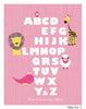 Animal Alphabet Pink Nursery Art Print