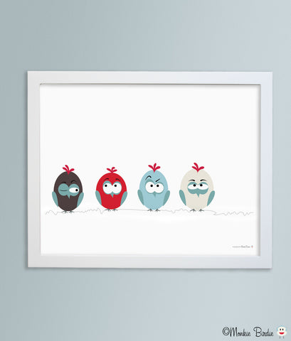 Birds on a Wire Nursery Art Print