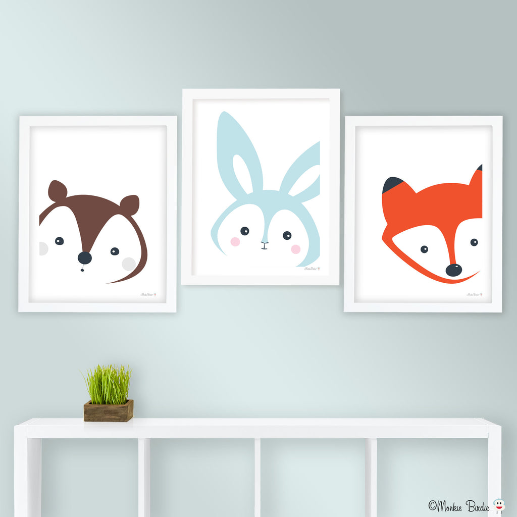 Critters Nursery Art Prints- Set of 3- Squirrel/Bunny/Fox
