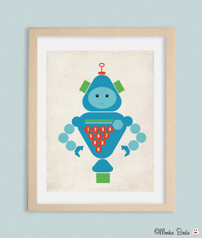 Number RoBot Nursery Art Print