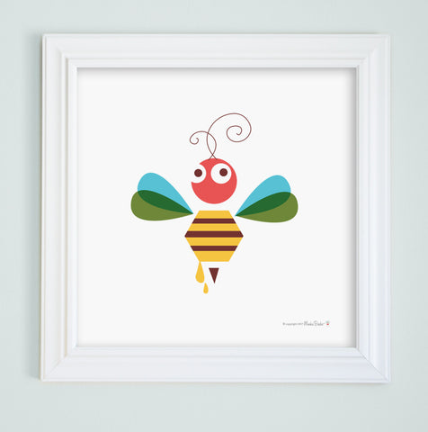 Bee & Honey Nursery Art Print