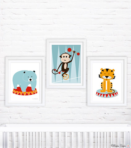 Circus Animals Nursery Art Prints- Set of 3