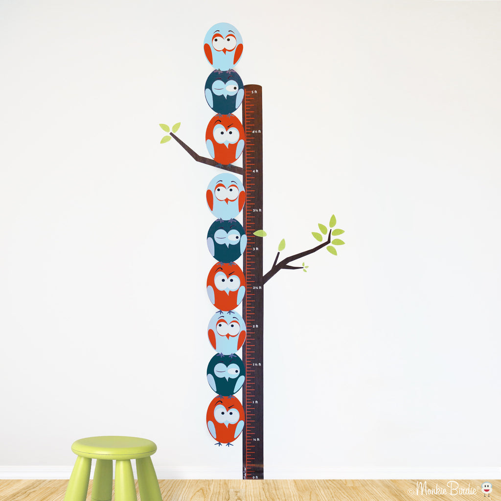Growth Chart Fabric Wall Decal- Stacked Birds- (Boy)