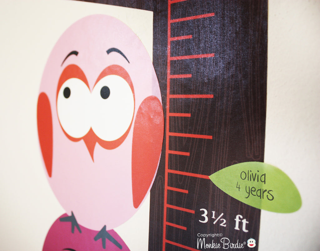 Growth chart fabric wall decal stacked birds girl monkiebirdie growth chart fabric wall decal stacked birds girl geenschuldenfo Images