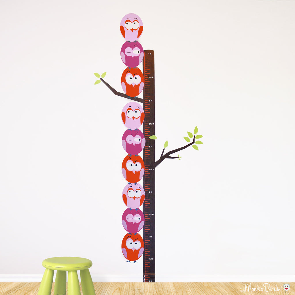 Growth Chart Fabric Wall Decal- Stacked Birds- (Girl)