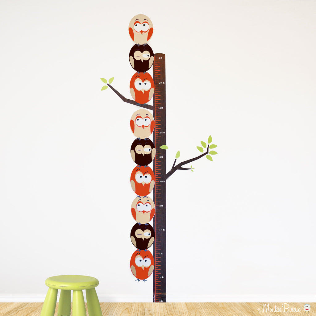 Growth Chart Fabric Wall Decal- Stacked Birds- (Neutral)