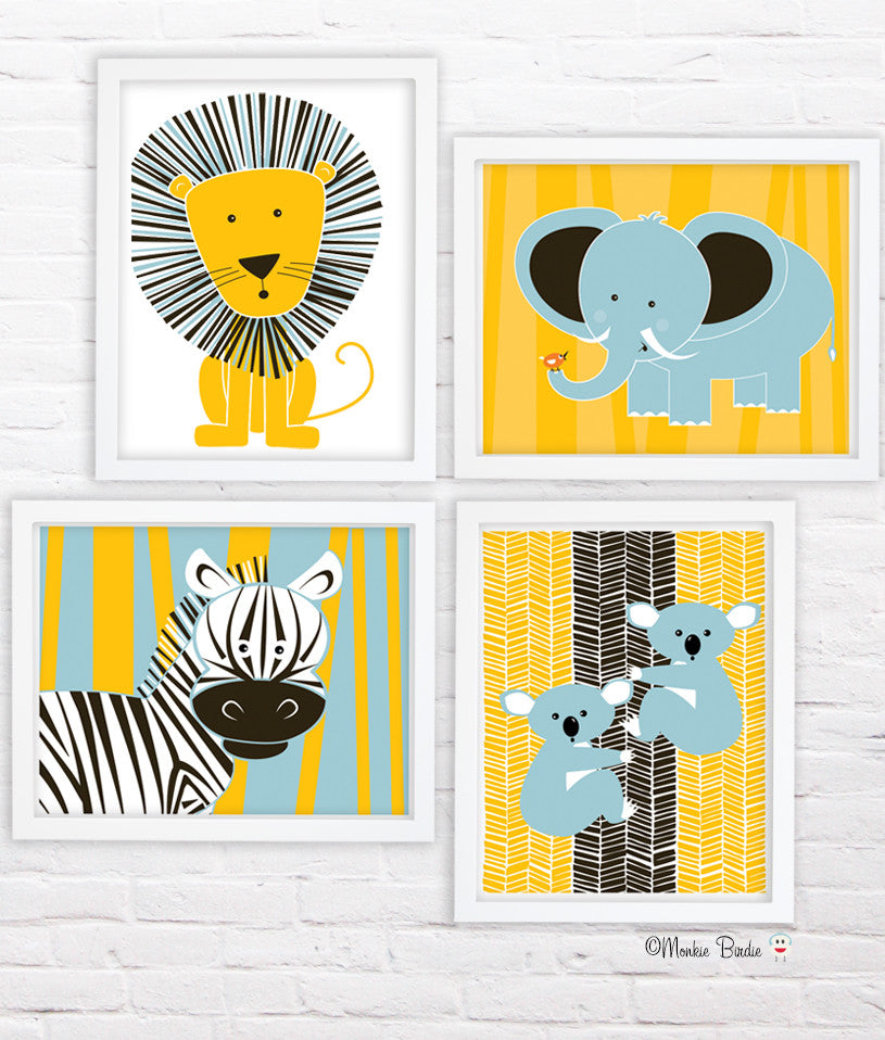 Jungle Animals- Nursery Art Print Set of 4