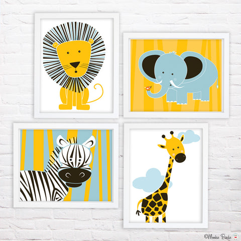 Jungle Animals 2- Nursery Art Print Set of 4