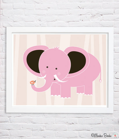 PINK- Elephant & Bird Nursery Art Print