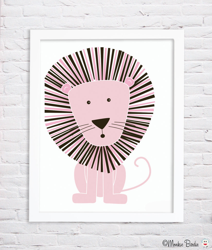 PINK Lion Nursery Art Print