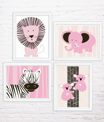 PINK- Jungle Animals- Nursery Art Print Set of 4