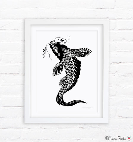 Black and White Koi Fish-Upstream Nursery Art Print