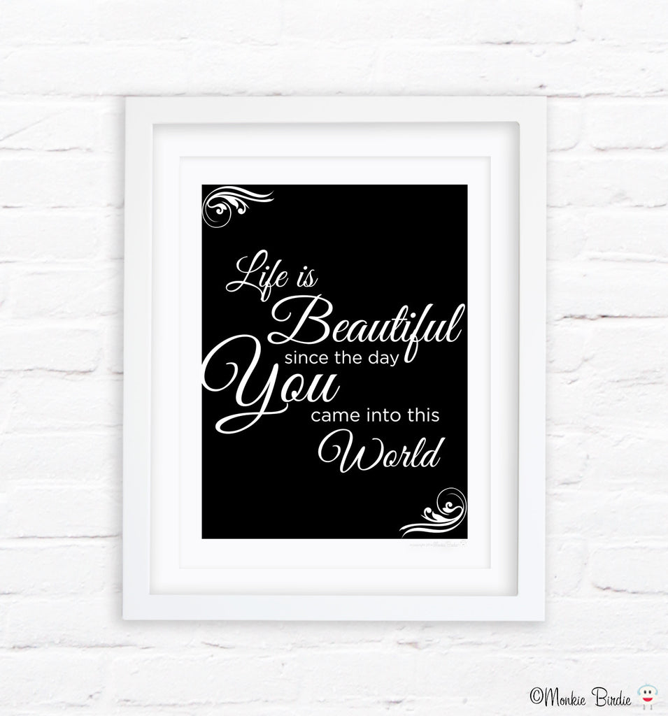 Black and White Quote Nursery Art Print