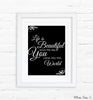 Black and White Quote Nursery Art Print Set of 3