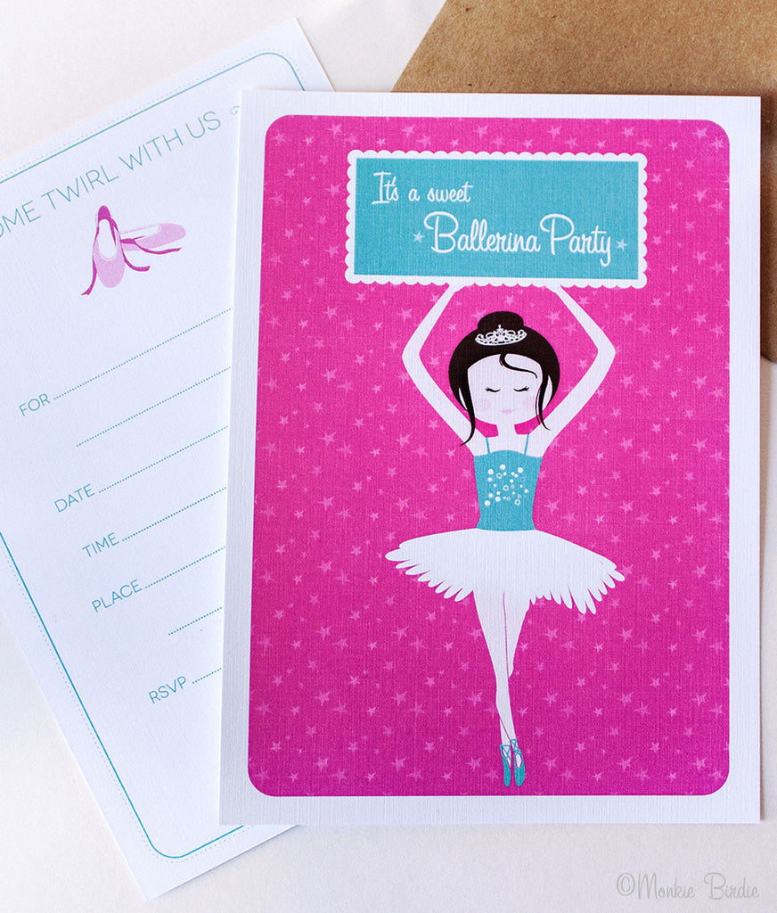 Ballerina Birthday Invites- Set of 10