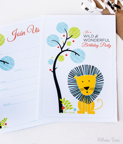 Jungle Safari Birthday Invites- Set of 10