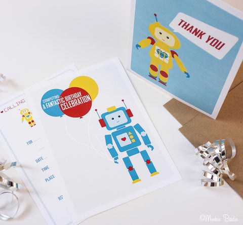 Robot Birthday Invites/ Thank You- Set of 5 each