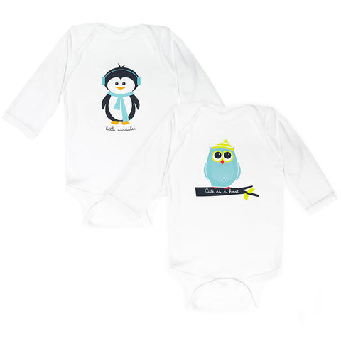Teal Penguin & Owl- Set of 2 Bodysuits