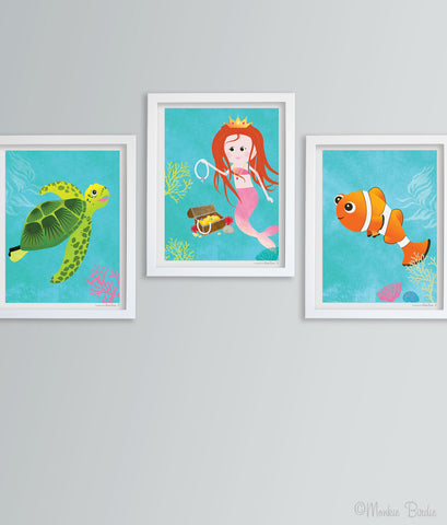 Princess Mermaid- Mermaid, Turtle, Clownfish Nursery Art Print Set of 3
