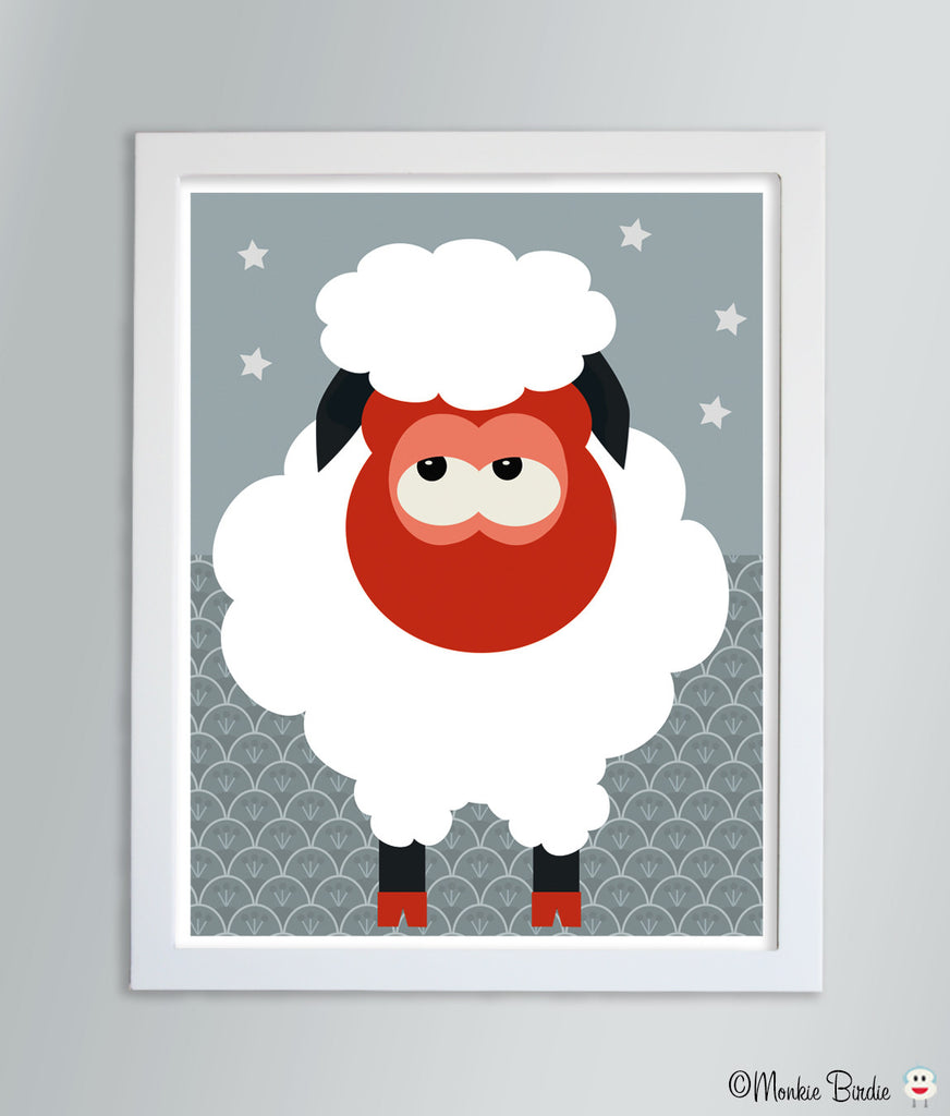 Sheep Nursery Art Print