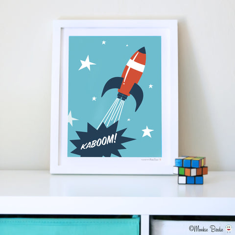 Rocket Nursery Art Print