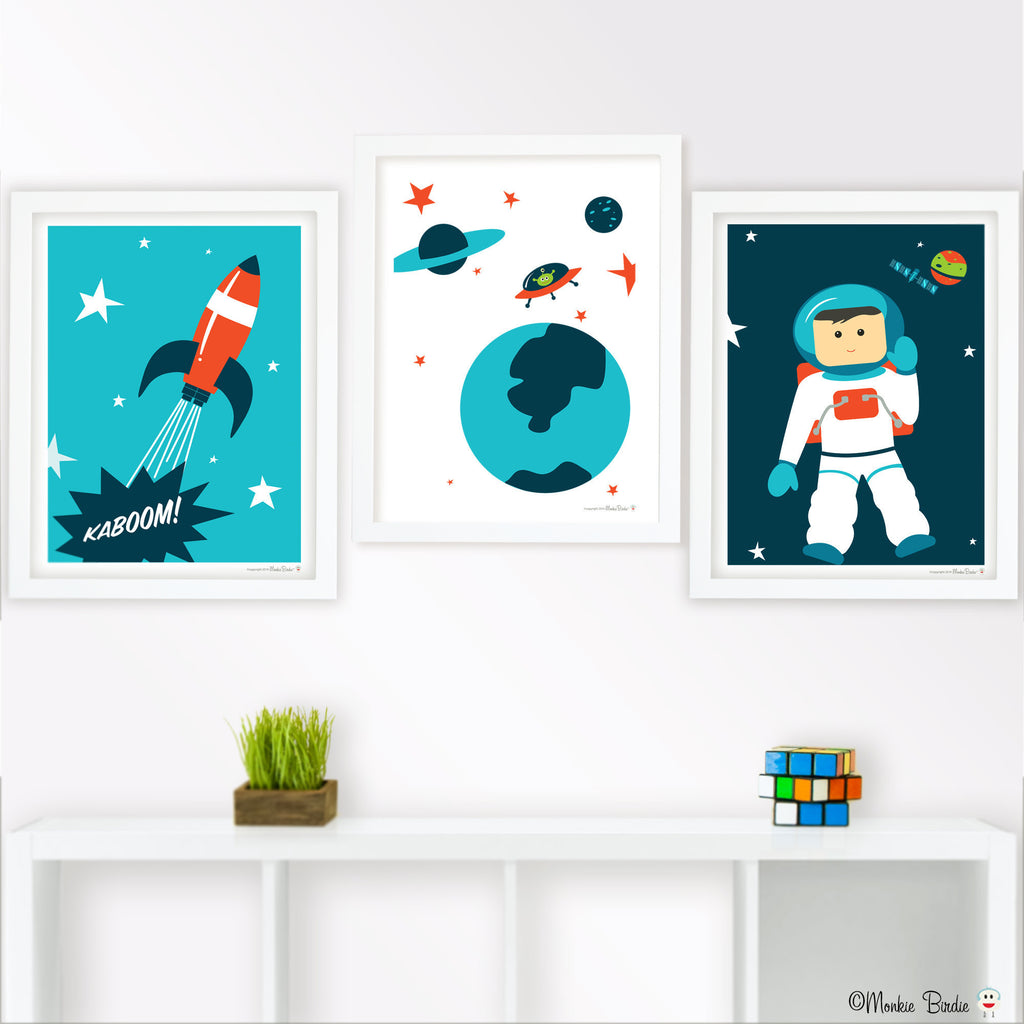 Space Nursery Art Print Set of 3