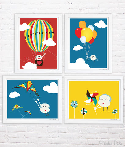 Windy Day Nursery Art Print Set of 4