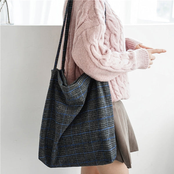 Plaid Wool Tote Bag