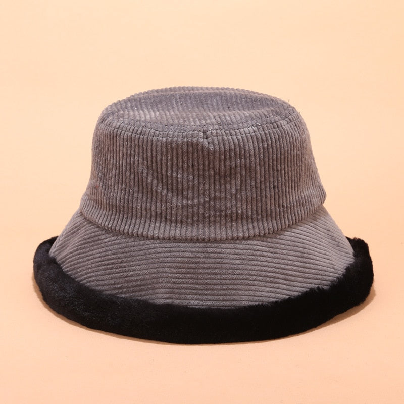 Corduroy Fur Bucket Hat