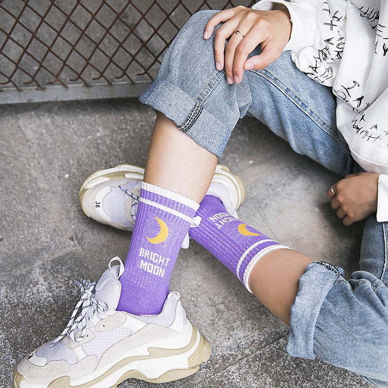 Bright Moon Crew Socks