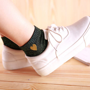 Embroidered Heart Glitter Ankle Socks