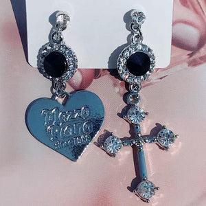 Heart + Cross Asymmetrical Earrings