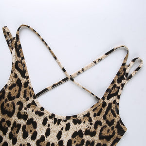 Side Lace-Up Leopard Print Bodysuit